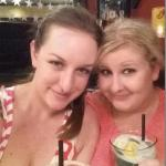 Courtney and Tori enjoy a drink after a day of playing pool!