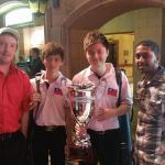 Aaron Elswick and Kevin Singh pose with the National 10 Ball Champions